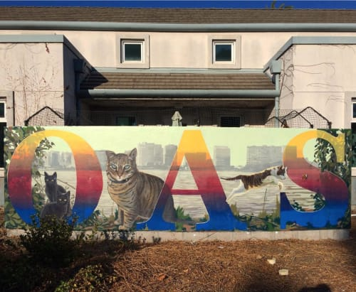 Murals by Robert Minervini seen at Oakland Animal Services, Oakland - OAS