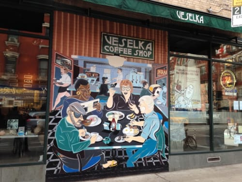 Murals by Arnie Charnick seen at Veselka, New York - Luncheonette Life