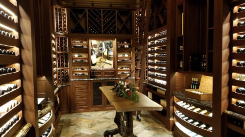 Furniture by Bayne's Custom Furniture, Inc seen at Private Residence, Saint Michaels - Wine Cellar