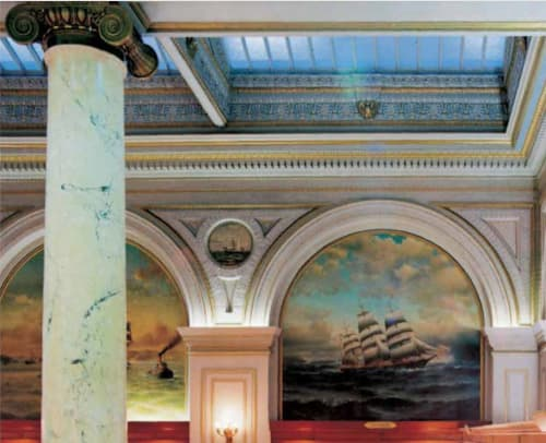 Murals by William Alexander Coulter seen at Merchants Exchange Building, San Francisco - Murals of the Merchant Exchange Building