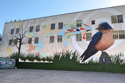Street Murals by Talavera-Ballón seen at Anchor Coworking Space, San Francisco - 'Bird Song #3'
