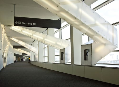 Sculptures by Vito Acconci seen at San Francisco International Airport, San Francisco - Light Beams