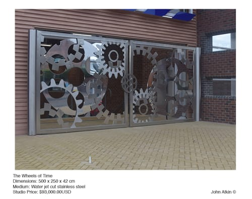 Public Sculptures by John Atkin seen at Stourport, UK, Stourport-on-Severn - Wheels of Time