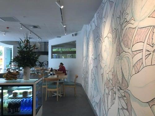 Murals by Sam Shennan seen at Conservatorium at Sydney Olympic Park, Sydney Olympic Park - Hidden Garden