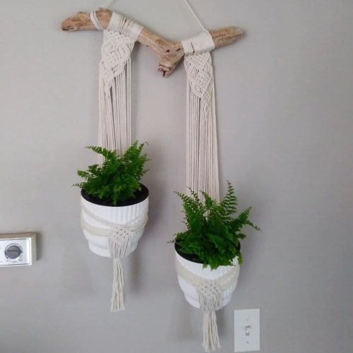 Macrame Wall Hanging by Pearly's Rose seen at Private Residence, Plympton-Wyoming - Macrame Plant Hanger
