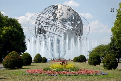 Public Sculptures by Gilmore Clarke seen at Flushing Meadows Corona Park, Queens - Unisphere