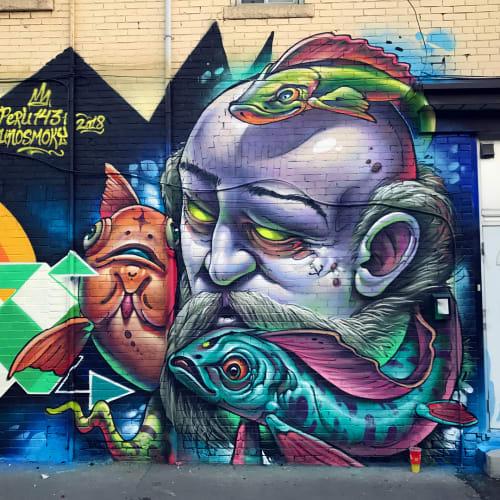 Street Murals by Bruno Smoky at Dundas Street, Toronto - Velho Lobo do mar