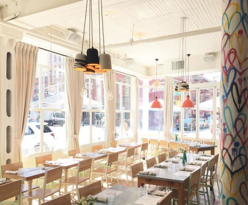 Lighting by Helen Levi seen at Seamore's, New York - Ceramic light fixtures