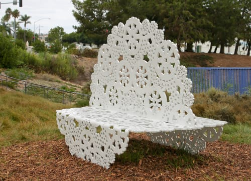 Sculptures by Jennifer Cecere seen at Civic Center Park, Newport Beach - Double Doily
