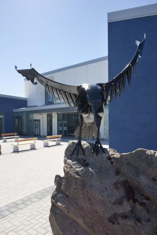 Public Sculptures by Helen Denerley seen at Westside Primary School, Barvas, Isle of Lewis - Ravens