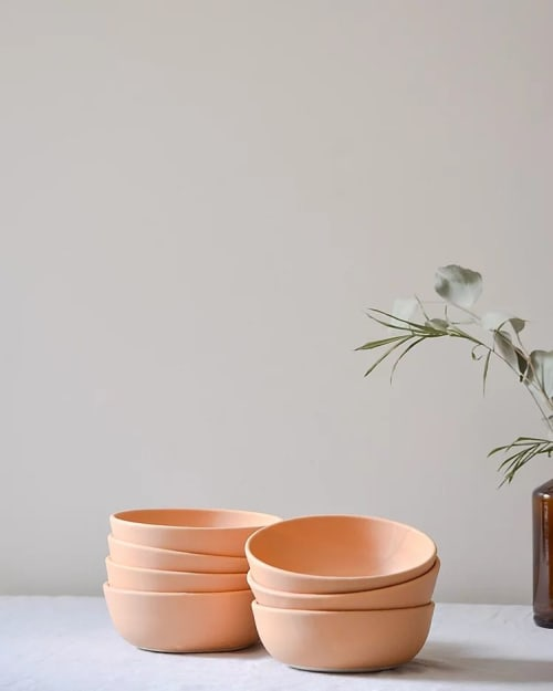 Tableware by Stone + Sparrow seen at Private Residence, Pittsburgh - Handmade Ceramic Egg Shell Bowls