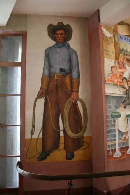 Murals by Clifford Wight seen at Coit Tower, San Francisco - Cowboy