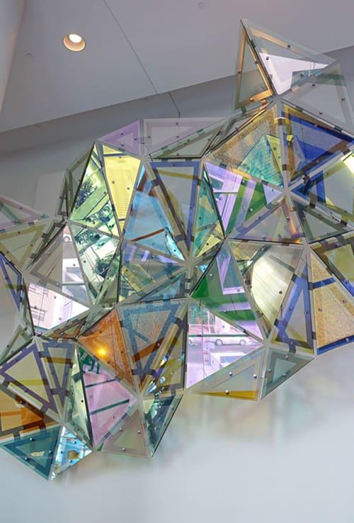 Sculptures by Christian Eckart seen at Centennial Place, Calgary - Glass Hexagonal Pertubation- Hat Trick