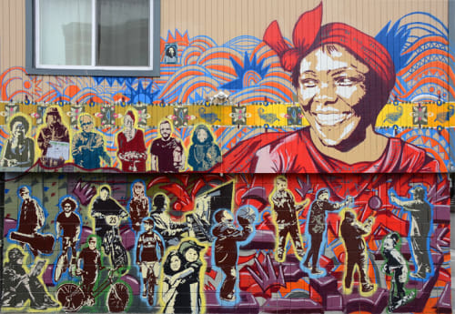 Street Murals by Delvin Kenobe Leake seen at Haight St, Western Addition, San Francisco - Professor Wangari Maathai