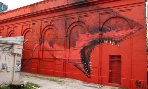 Street Murals by Sharktoof seen at 1st Ave N, Petersburg, Saint Petersburg - Big Red Shark