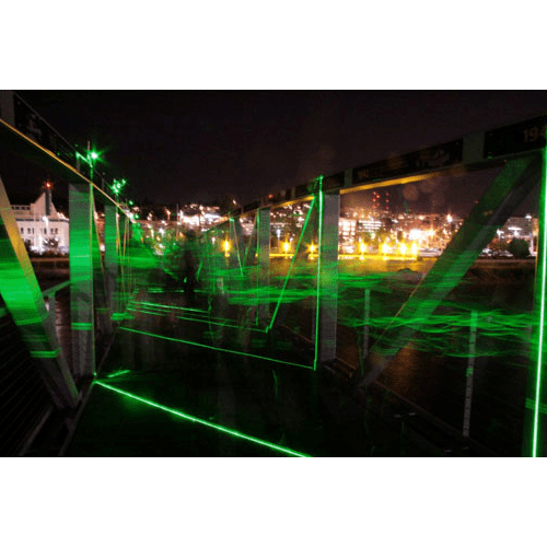 Lighting by Iole Alessandrini seen at Lake Union Park Bridge, Seattle - Laser Bridge Project