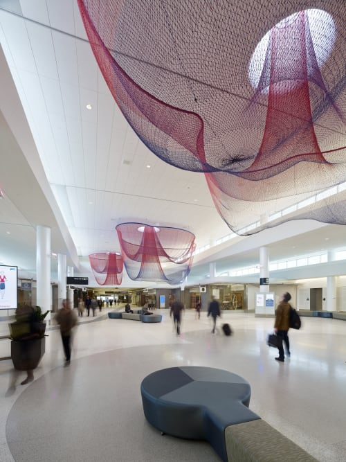 Sculptures by Janet Echelman seen at San Francisco International Airport, San Francisco - Every Beating Second