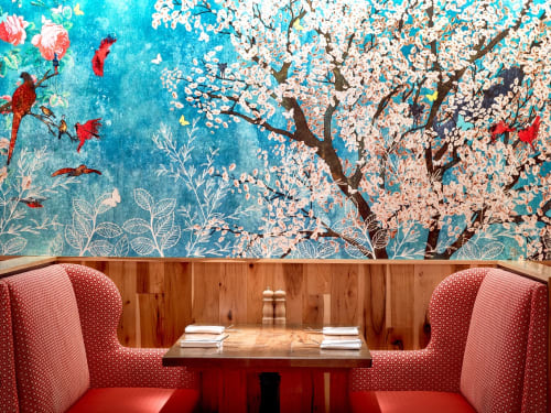 Murals by Jordan Hilliard seen at Founding Farmers Tysons, Tysons - Chinoiserie Inspired Mural