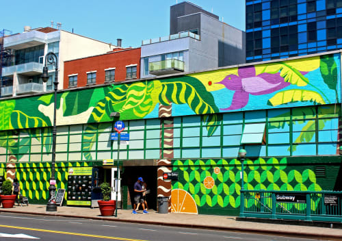 Street Murals by Geraluz seen at 120 Essex Street, New York, New York - Essex Street Market