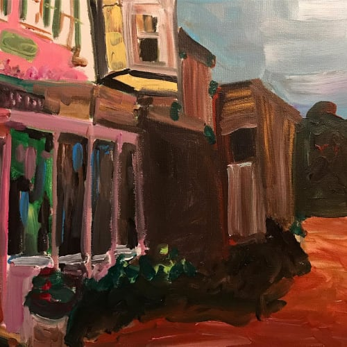 Paintings by Caroline Karp Artist seen at Private Residence, Safety Harbor - A Slice of Life: The Pantone Candy Cane Pink Building