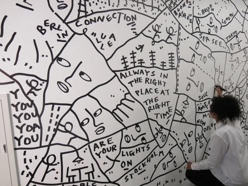 Murals by Shantell Martin seen at Facebook HQ, Menlo Park - Walk Into Work