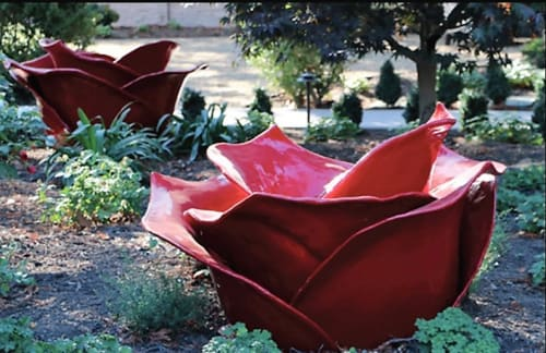 Sculptures by Dennis Oppenheim seen at Senza Hotel, Napa - Tar Roses