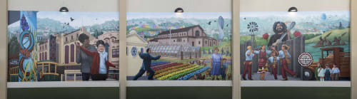 Murals by Arthur Koch seen at Grocery Outlet Bargain Market 1390 Silver Ave, San Francisco, CA 94134, San Francisco - Garden District, The Portola Then And Now