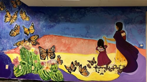 Murals by Negrette Art seen at Grand Central Art Center, Santa Ana - Collaborative Project  MADRES EMIGRANTES 2018