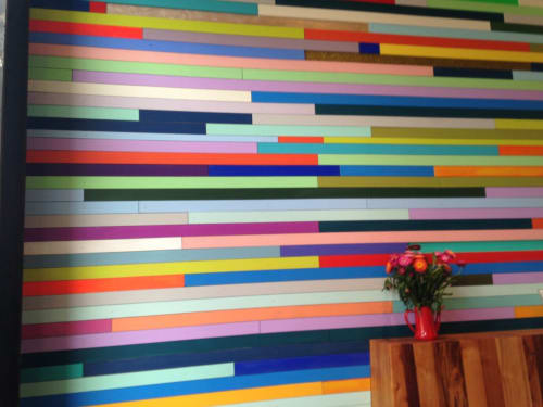 Murals by Leah Rosenberg seen at Pinhole Coffee, San Francisco - The Multicolored Wall Installation