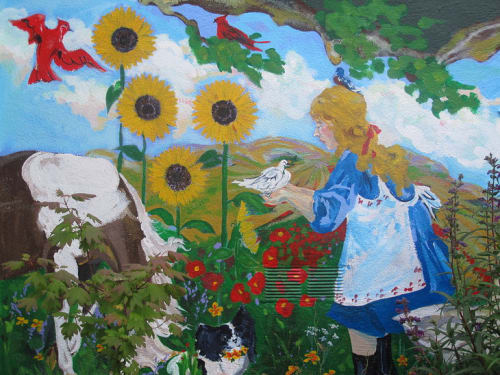 Street Murals by Julia Marshall seen at 1823 10th Ave, Inner Sunset, San Francisco - Lady in a Garden