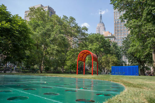 Public Sculptures by Josiah McElheny seen at Madison Square Park, New York - Prismatic Park