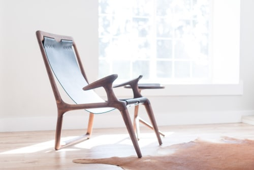 Chairs by Fernweh Woodworking at The Good Mod, Portland - The Sling Chair & The Tripod Table