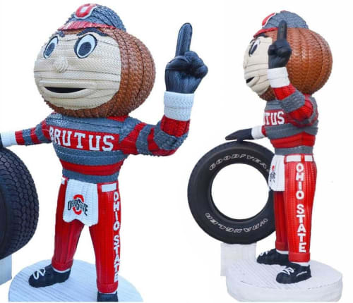 Public Sculptures by Blake McFarland seen at The Ohio State University, Columbus - Ohio State's Brutus the Buckeye