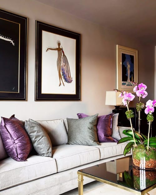 Pillows by Marie Burgos Design at Private Residence, Brooklyn - Purple Pillows