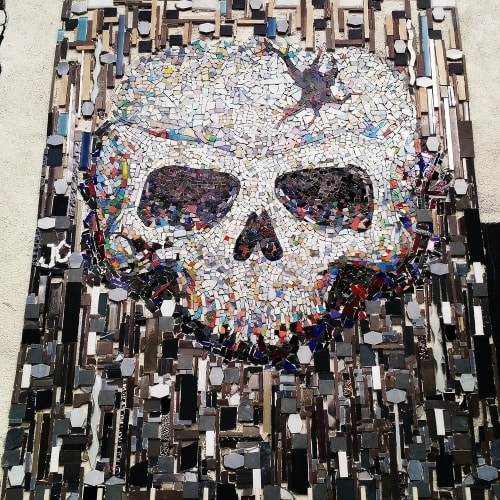 Public Mosaics by Jonathan Cohen at Mercado Hollywood, Los Angeles - Mosaic Tiles Skull in The Skull Project