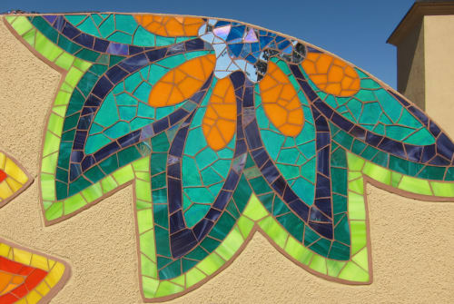Public Mosaics by Rachel Rodi seen at Sylmar Square Shopping Center, Sylmar, Los Angeles, CA, Los Angeles - Sylmar Mosaic Flowers