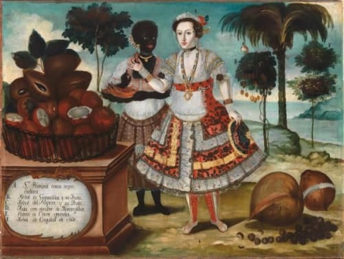 Paintings by Vicente Albán seen at Art of The Americas Building, Los Angeles - Noble Woman with Her Black Slave (Sra. principal con su negra esclava)