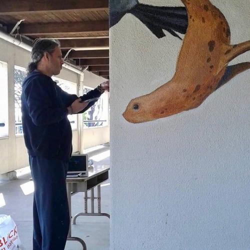 Murals by Talavera-Ballón seen at Commodore Sloat Elementary School, San Francisco - Sea Life Murals