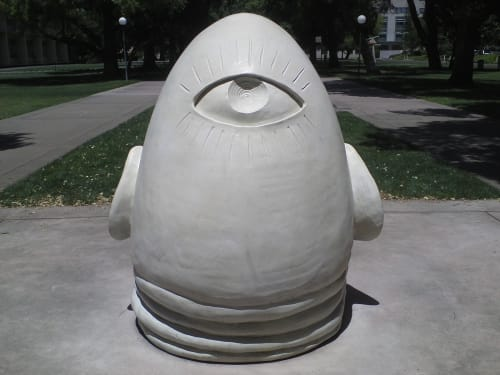 Sculptures by Robert Arneson seen at University of California, Davis, Davis - Egghead Sculpture