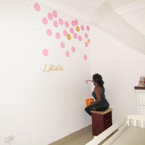 Murals by Cera Cerni seen at Banana Island, Lagos - Pink Polka Dots Mural