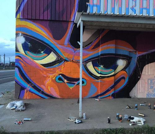 Street Murals by Himbad seen at 38th & Blake Station, Denver - 4/20 Denver