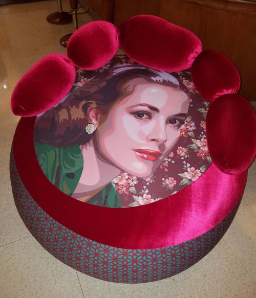 Benches & Ottomans by Elisabetta Fantone Art seen at National Hotel, Miami Beach - Grace Kelly ottoman