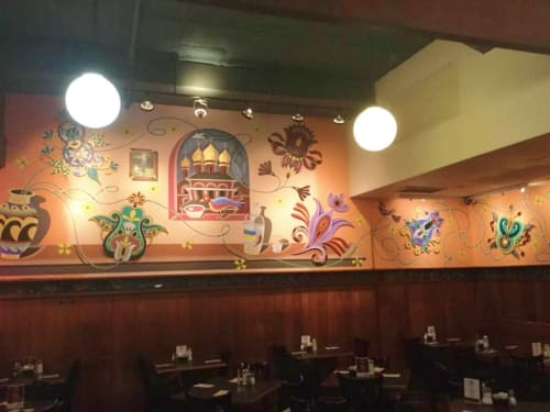Murals by Arnie Charnick seen at Veselka, New York - Veselka Blooms
