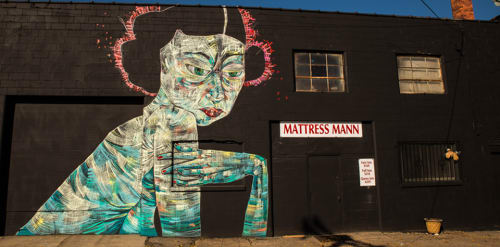 Street Murals by Faring Purth seen at Rochester Public Market, Rochester - Anabel