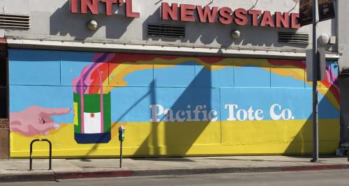 Street Murals by Amanda Lutz-Beheshti seen at Cahuenga and Hollywood Blvd, Hollywood, CA, Los Angeles - Pacific Tote Company