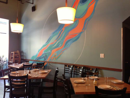 Murals by VESL seen at Blue Line Pizza, Mountain View, Mountain View - Waves Mural