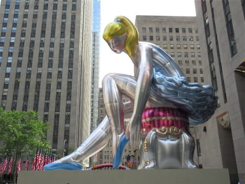 Public Sculptures by Jeff Koons seen at Rockefeller Plaza, New York, New York - Seated Ballerina