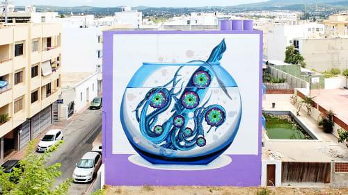 "Murals by Federico ""Iena Cruz"" Massa seen at The Purple Hotel by Ibiza Feeling, Sant Antoni de Portmany - Control"