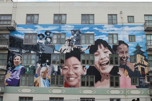 Street Murals by Darryl Mar seen at Stockton Street, Chinatown, SF, San Francisco - Ping Yuen Mural