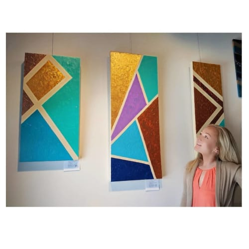 Paintings by Soulscape Art seen at Private Residence, Dallas - Geometric Triptych Set